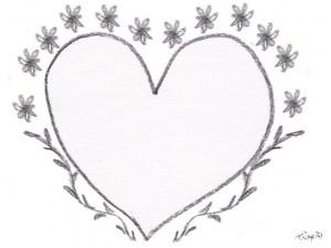 フリー素材:フレーム;モノトーンの鉛筆描きのハートと小花と葉っぱの飾り枠:640×480pix