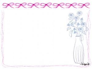 フリー素材:フレーム;北欧風の花と花瓶とピンクのりぼんと囲み枠:640×480pix