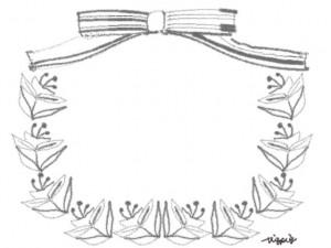 フリー素材:フレーム;モノクロのリボンと花と葉のガーリーな囲み枠:640×480pix