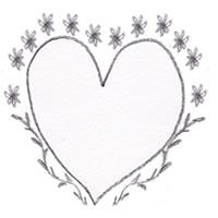 フリー素材:アイコン(twitter) ;モノトーンのハートとガーリーな葉っぱと花の飾り枠