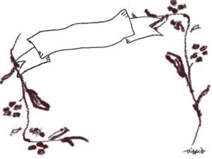 フリー素材:フレーム:北欧風の木の枝とモノトーンの見出し用のリボンの囲み枠;640×480PIX