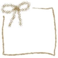 フリー素材:茶色のクレヨン風のリボンとラフなラインの囲み枠;アイコン(twitter)