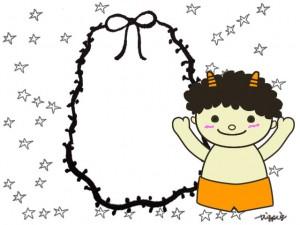 フリー素材:フレーム:モノトーンのリボンの楕円と手描きの星と節分のかわいい鬼;640×480PIX