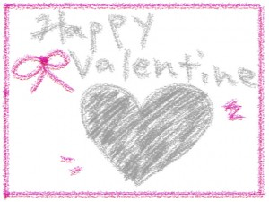 フリー素材:フレーム:HappyValentineの手書き文字とグレーのハートとピンクのリボンと囲み枠;640×480PIX