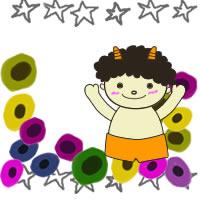 フリー素材:2月のアイコン(twitter);北欧風の花と節分のかわいい鬼のイラストとグレーの手描きのラフな星の囲み枠;200×200pix