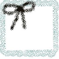 フリー素材:アイコン(twitter,mixi);モノクロのリボンとパステルブルーのレトロなレースの飾り枠;200×200pix