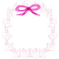 フリー素材:アイコン(twitter);北欧風の花の飾り枠とガーリーなピンクのリボン;200×200pix