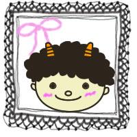 フリー素材:アイコン(twitter);モノトーンのレースとピンクのりぼんと節分の鬼のイラストの囲み枠;200×200pix