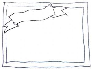 フリー素材:フレーム;モノトーンの鉛筆の手描きの星とラフなラインの囲み枠:640×480pix
