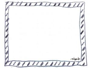 フリー素材:フレーム;モノトーンの手描きのラフなシマシマが大人可愛いフレーム:640×480pix