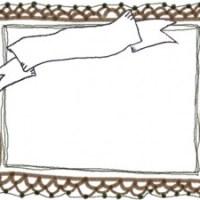 フリー素材:フレーム;大人可愛い茶色のレースの飾り枠とアンティーク風のリボンの見出し:640×480pix