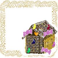 フリー素材:アイコン(twitter);大人可愛いお菓子の家とみかん色のレトロなレースのフレーム;200×200pix