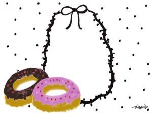 フリー素材:フレーム;チョコドーナツとモノトーンの水玉と大人可愛いリボンの楕円の飾り枠:640×480pix