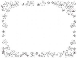 フリー素材:モノトーンの桜のフレーム;シンプルな鉛筆画の桜の花いっぱいの大人可愛い飾り枠:640×480pix