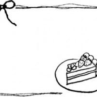 モノクロのフリー素材:フレーム;手描きのイチゴショートケーキとリボンとラフな線の飾り枠;640×480pix