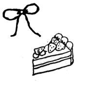 フリー素材:壁紙,アイコン;モノクロの手描きのイチゴショートケーキのパターン;200×200pix