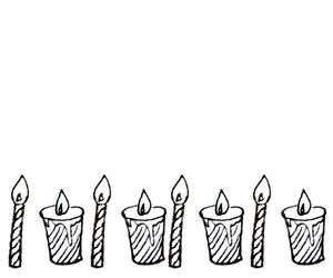 フリー素材:モノクロのシマシマのキャンドルいっぱいの飾り罫;バナー広告300×250pix