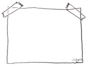 フリー素材:フレーム;大人可愛い鉛筆画のテープでとめた紙のイラストの飾り枠;640×480pix