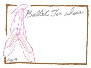 フリー素材:フレーム;大人可愛いバレエのトウシューズのガーリーイラスト:640×480pix