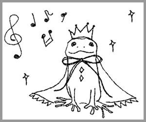 フリー素材:バナー広告;モノトーンの王冠とマントが大人可愛いカエルと音符とキラキラ;300×250pixミディアムレクタングル