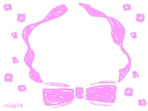 フリー素材:フレーム;ガーリーなりぼんの飾り枠と北欧デザインの小花:640×480pix