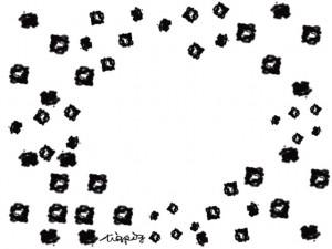 フリー素材:フレーム;北欧風のモノトーンの小花いっぱいの飾り枠:640×480pix