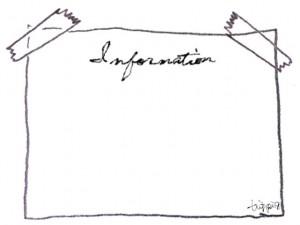 フリー素材:フレーム;モノトーンのInformationの手書き文字と鉛筆画のテープでとめた紙:640×480pix