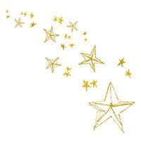 フリー素材:アイコン(twitter);大人可愛い黄色の星の流れ星みたいなデザインのガーリーイラスト;200pix