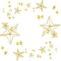 フリー素材:アイコン(twitter);大人可愛い手描きの黄色の星がキラキラしたフレーム;200pix