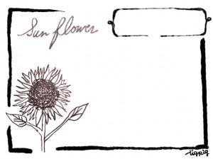 フリー素材:フレーム;大人可愛いひまわりの鉛筆画のイラストとレトロな枠;640×480pix
