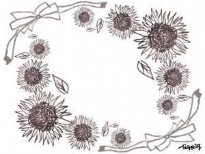 夏のフリー素材:フレーム;大人可愛いひまわりのいっぱいのイラストとガーリーなリボン;640×480pix