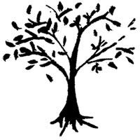 フリー素材:アイコン(twitter可):北欧風のモノトーンのナチュラルな木のイラスト;200×200pix