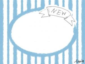 フリー素材:飾り枠;ガーリーなパステルブルーのストライプの背景とNewの手書き文字のリボンのフレーム;640×480pix