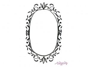 フリー素材:フレーム;モノトーンのアンティーク風の楕円の飾り枠;640×480pix