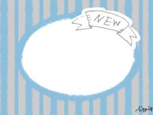 フリー素材:NEWの手書き文字のリボンとストライプの背景がガーリーな楕円のフレーム;640×480pix