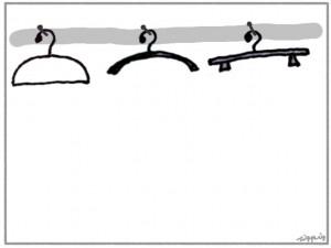 フリー素材:フレーム;モノトーンが大人可愛いハンガーのイラストと囲み枠;640×480pix