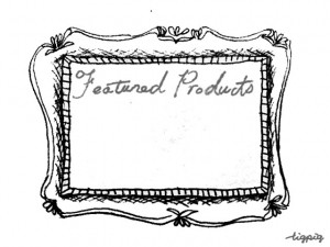 フリー素材:フレーム;モノトーンのガーリーなアンティーク風のフレームとお勧め商品の手書き文字;640×480pix