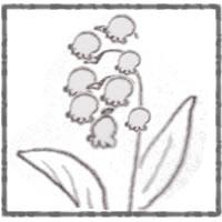 フリー素材:アイコン(twitter):昭和レトロなクレヨン画風のすずらんの花のイラスト;200×200pix