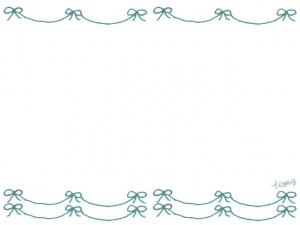 フリー素材:フレーム;シャーベットカラーのミントグリーンのガーリーなリボンのラインの飾り罫;640×480pix