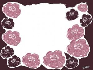 フリー素材:フレーム;北欧ファブリックのようなレトロモダンな椿の花の飾り枠;640×480pix