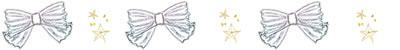 フリー素材:飾り罫;北欧風デザインのモノトーンのストライプのリボンと星いっぱいの飾り罫