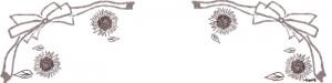 フリー素材:ヘッダー;ガーリーなモカ茶のリボンとひまわりのイラスト;800×200pix