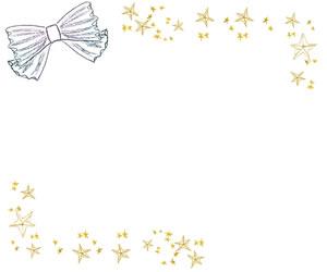 フリー素材:バナー広告;北欧風の鉛筆画のストライプのリボンとアンティーク風の星;300×250pix