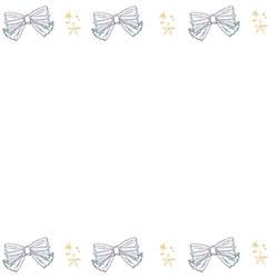 バナー制作のフリー素材:モノトーンの手描きのリボンと星の飾り罫のフレーム;スクエアボタン250×250pix