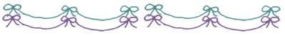 フリー素材:飾り罫;シャーベットカラーのミントグリーンと紫のリボンの