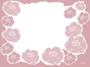 フリー素材:フレーム;北欧風デザインの椿の花の大人可愛いイラストの飾り枠;640×480pix