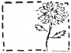 フリー素材:イラスト;モノトーンのガーリーな水彩のダイアの花;640×480pix