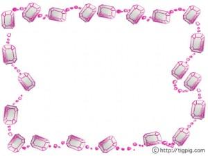 フリー素材:フレーム;シャーベットカラーのピンクの色鉛筆の宝石いっぱいのネックレスの飾り枠;640×480pix
