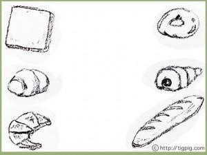 フリー素材:フレーム;モノトーンの鉛筆画のおいしそうなパン;640×480pix