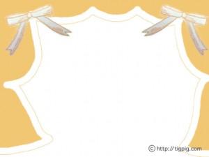 フリー素材:フレーム;ガーリーなオレンジのリボンと舞台の幕みたいな飾り枠;640×480pix